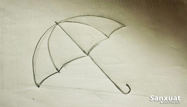 vẻ hình cái ô dù